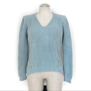 LOFT Seafoam Ribbed Knit High Low Sweater Size S